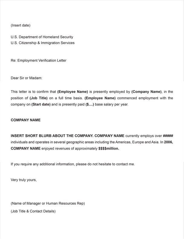 H1B Employment Verification Sample Letter