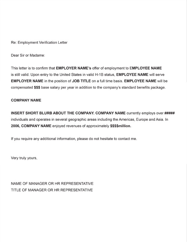 H-1B Employment Verification Sample Letter
